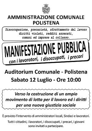 MANIFESTO MANIFESTAZIONE PUBBLICA polistena LUGLIO 2014